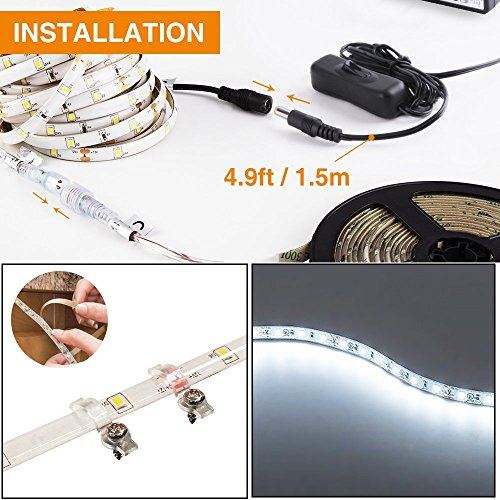Onforu 50ft/15m Waterproof LED Strip Lights Kit, 6000K Cool White, 12V Flexible LED Rope with 450 SMD 2835 LEDs, UL Listed Power Supply with Switch, IP65 Waterproof for Indoors and Outdoors by Onforu (Image #7)