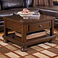 Ashley Furniture Signature Design - Porter Lift Top Coffee Table - Cocktail Height - Rectangular - Rustic Brown