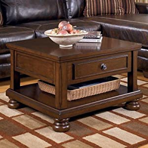 ashley furniture signature design porter lift top coffee table cocktail height rectangular rustic brown