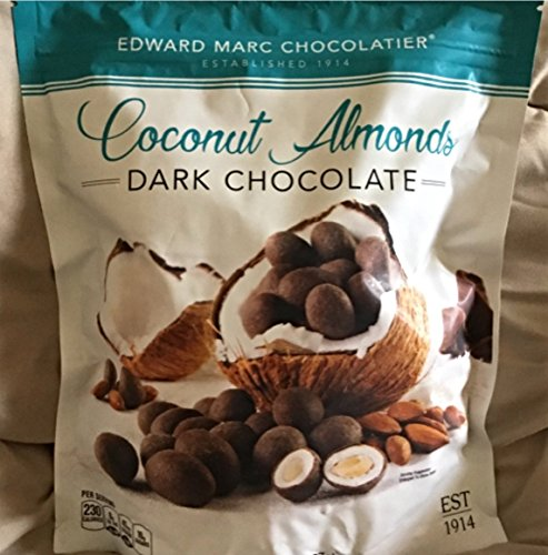 Edward Marc Chocolatier Coconut Almonds Dark Chocolate 32 oz. (1 bag of 32 oz.) - Chocolate Almond Coconut