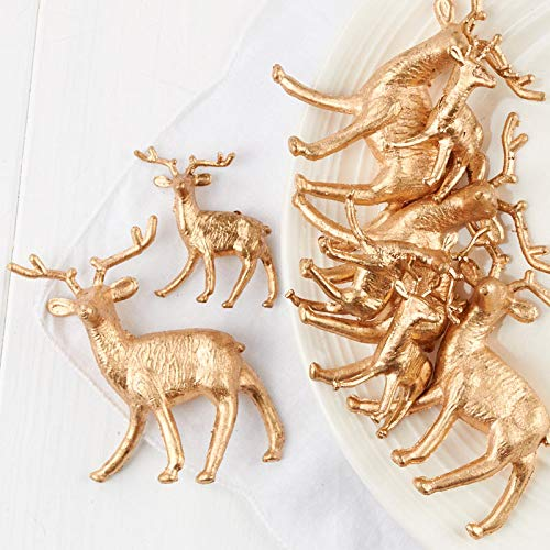 Factory Direct Craft Assorted Miniature Gold Plastic Deer | 16 Pieces ()