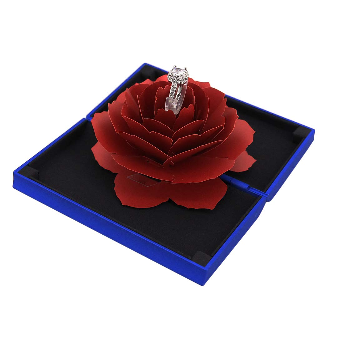 Pink Rosee Box Creative Matte Velvet Ring Box for Proposal Engagement Wedding Ring Jewelry Gift Case