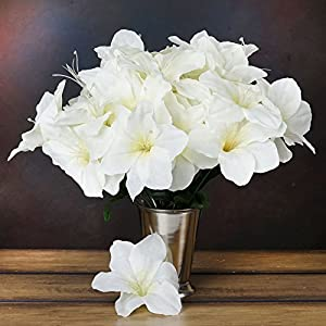 60 Silk Easter Lilies Lily Flowers Wedding Bouquet Party Centerpieces Wholesale (Ivory) 34