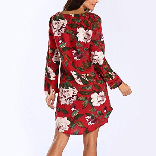 Damen KleiderFrauen Blumendruck Minikleid Sommer Langarm Party Kleid ...