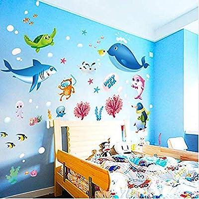 iofjs Creative Cartoon Sea Turtle Fish Animal Home DIY Wall Stickers House Decor for Kids Child Room Bedroom Bathroom Decals: Home & Kitchen