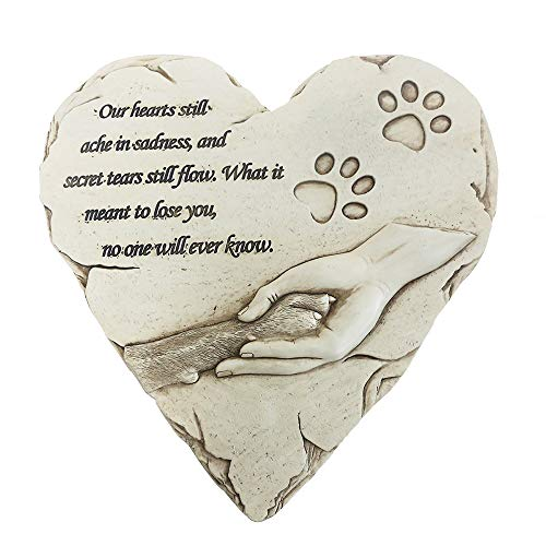 jinhuoba New York Dog Memorial Stone, Hand-Printed Heart-Shaped Personalized Loss of Pet Gifts Dog with Sympathy Poem and Paw in Hand Design, (White) (Words To Put On A Memorial Plaque)