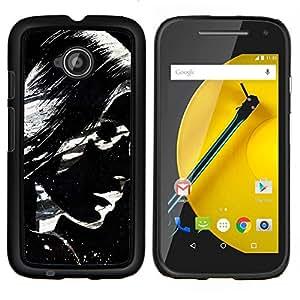 /Skull Market/ - Cool Awesome Black & White Girl For Motorola Moto E 2nd Generation - Mano cubierta de la caja pintada de encargo de lujo -