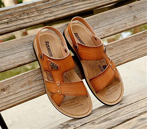 Zapatos Hombre 3 Casuales EU Libre Beach Amarillo Comfort tamaño Sandalias 1 Color Al 41 Deportes Sandalias Dual Aire Wangcui Marrón para UwvqvE