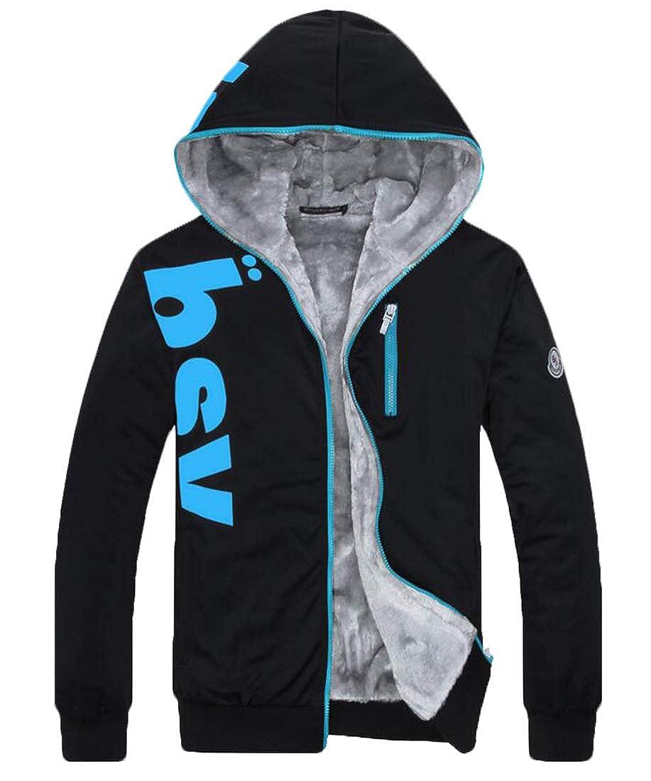 XiaoTianXinMen XTX Mens Zip-Up Print Outwear Fleece Linen Hooded Thicken Sweatshirt Jacket