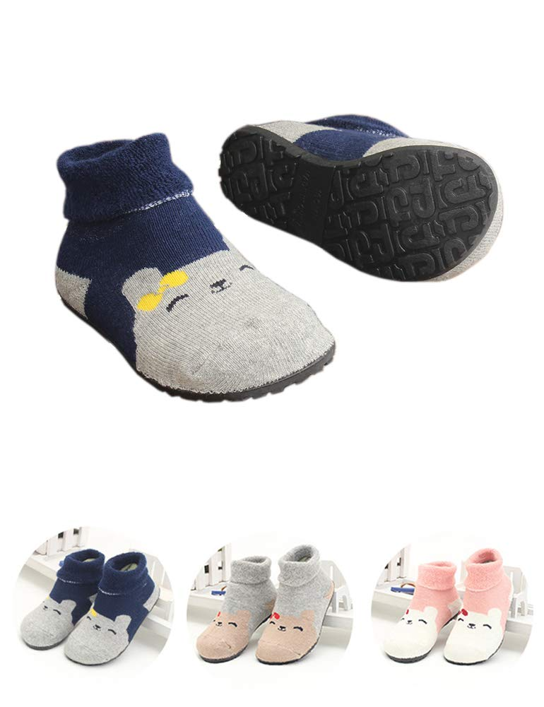 Slipper Socks for Kids Girls Boys Baby Floor Shoes Socks Rubber Bottom Soles Travel Totel Portable Protect Feet (Dark Blue Bear, 7 1/2'')