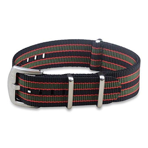 (BluShark - The Original Premium Nylon Watch Strap - Multiple Sizes and Styles - 22mm Vintage Bond (Black/Red/Green))