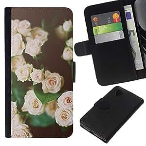 All Phone Most Case / Oferta Especial Cáscara Funda de cuero Monedero Cubierta de proteccion Caso / Wallet Case for LG Nexus 5 D820 D821 // rosas vignette rosa verde negro de primavera