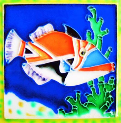 Tropical Fish IIIII - Crown Fish - Decorative Ceramic Art Tile - 4