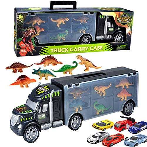 Dinosaur Transport Car for Toddlers,Carrier Truck Transpoter Tractor Trailer Toy with 6 Mini Racing Cars ,6 Dinosaur Toys-Great Gifts for Boys/Girls ()