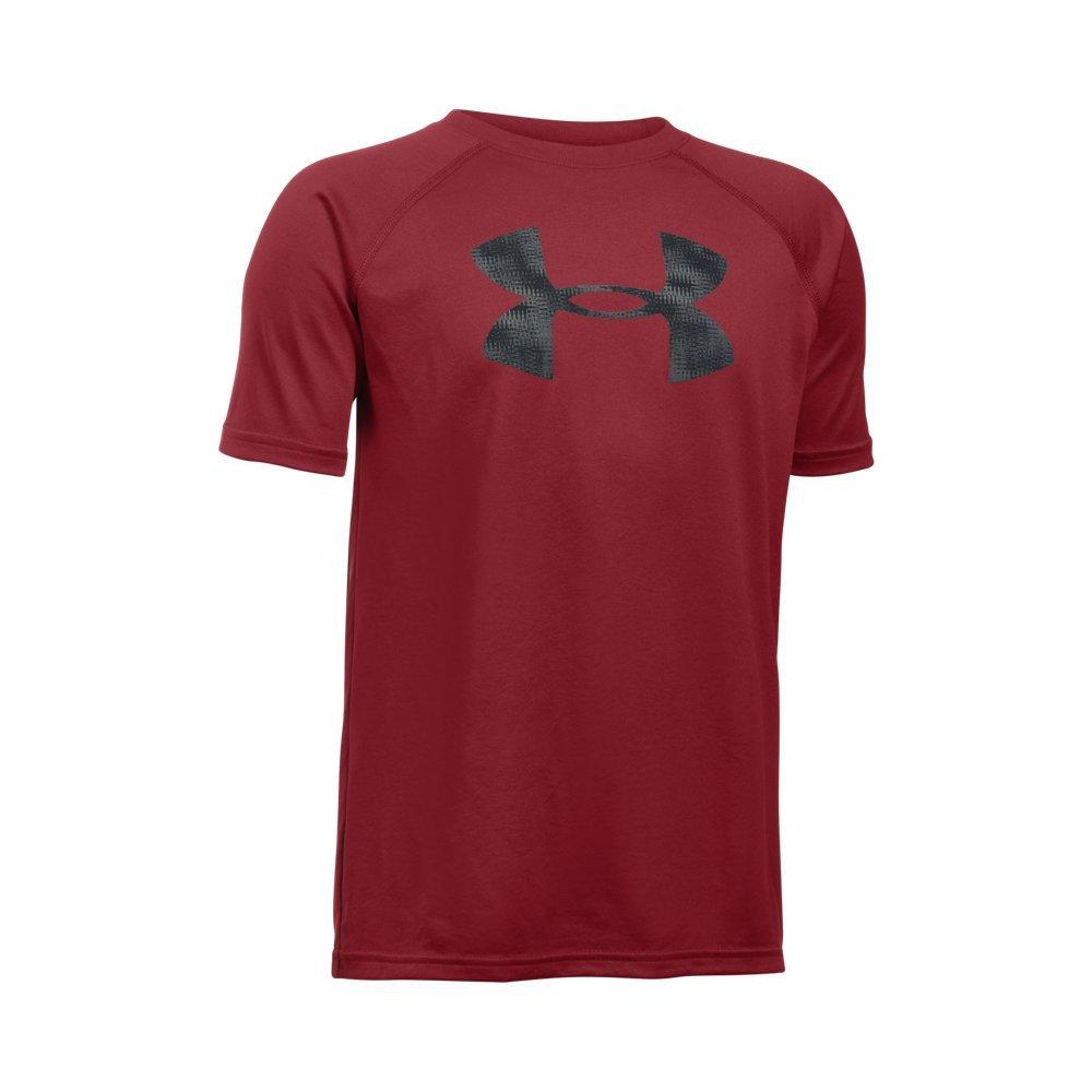 Under Armour Boys' Tech Big Logo T-Shirt, Cardinal/Black, Youth X-Small