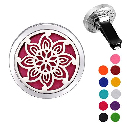 VALYRIA-Stainless-Steel-Flower-Car-Air-Freshener-Aromatherapy-Essential-Oil-Diffuser-Locket-with-Vent-Clip