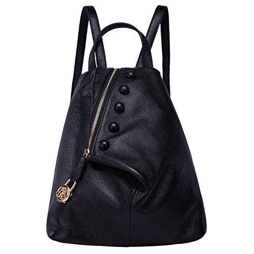 BOYATU Womens Leather Backpacks Ladies Travel Purse Satchel Shoulder School Bags (Black-01) by BOYATU