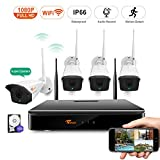 CORSEE Plug and Play 1080P 8 Channel Wireless Camera Surveillance Set with MIC,H.265 Video Coding Standard,WiFi CCTV NVR with 1080P CCTV, Motion Alert Via iOS and Android App, with 1TB Hard Drive