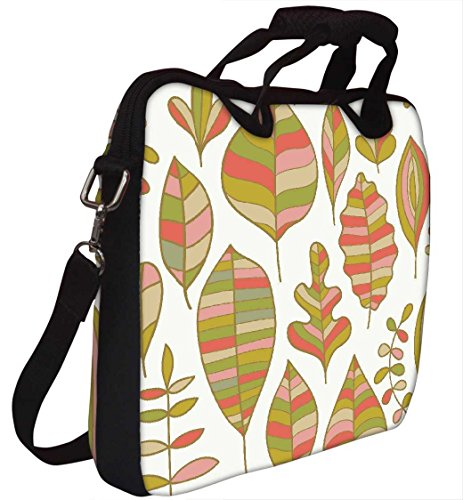 Snoogg gefärbte Blätter weiß 30,5cm 30,7cm 31,8cm Zoll Laptop Notebook Computer Schultertasche Messenger-Tasche Griff Tasche mit weichem Tragegriff abnehmbarer Schultergurt für Laptop Tablet PC Ult