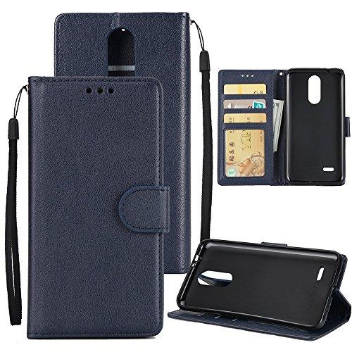 SRY-case Con Lanyard, ranura para tarjetas, hebilla magnética Abrir el teléfono Shell para LG K8 2017 ( Color : Brown ) Darkblue
