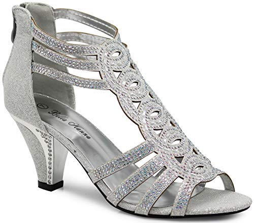 Enzo Romeo Kinmi25N Womens Open Toe Mid Heel Wedding Rhinestone Gladiator Sandal Shoes (9 B(M) US, Silver 34)