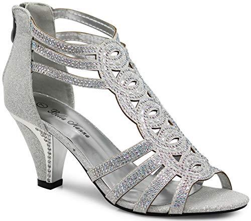 (Enzo Romeo Kinmi25N Womens Open Toe Mid Heel Wedding Rhinestone Gladiator Sandal Shoes (9 B(M) US, Silver 34))