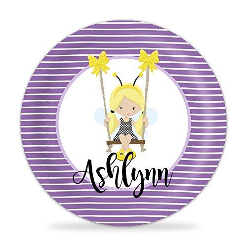 Honey Bee Girl Plate - Purple Honey Girl Melamine Personalized Name - Purple Personalized Honey