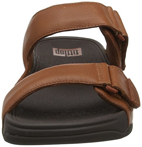 Punta Slide Tan Sandalias con In Hombre Fitflop Leather Gogh para Moc Marrón 277 Abierta Dark 1qxBnU0E