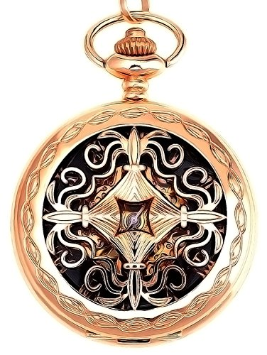 Steampunk Blue Hands Roman Letters Skeleton Mechanical Pocket Watch with Chain for Men Women (Rose Gold Skeleton Mechanical Pocket Watch)