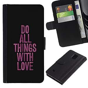 Planetar® Modelo colorido cuero carpeta tirón caso cubierta piel Holster Funda protección Para Samsung Galaxy Note 4 IV ( Amor Cosas Cómo funcionan púrpura Mensaje Negro )