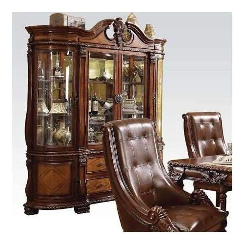 ACME Winfred Hutch and Buffet China Cabinet, Cherry Finish by acme