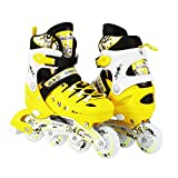 Kids Adjustable Inline Roller Blade Skates Scale Sports Yellow Medium Sizes Safe Durable Outdoor Featuring Illuminating Front Wheels 905