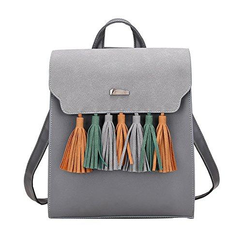 Verlike Women Retro Tassels Faux Leather Student School Backpack Shoulders Bag Grey