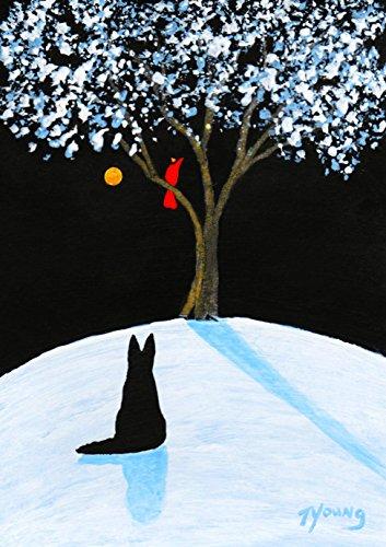 (Black German Shepherd Dog Folk Art PRINT by Todd Young WINTER SONG)