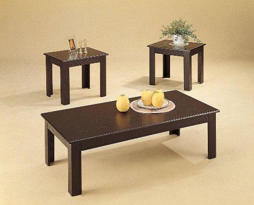 - Coaster Home Furnishings 3pc Black Oak Veneer Parquet Coffee Table & 2 Side Tables Set
