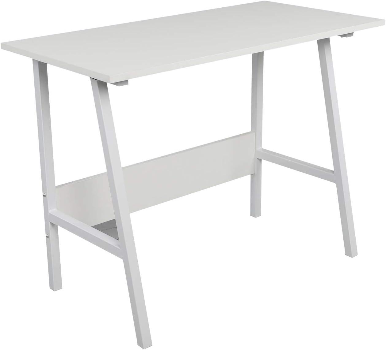 Bureau dordinateur blanc simple en bois 100 x 50 cm