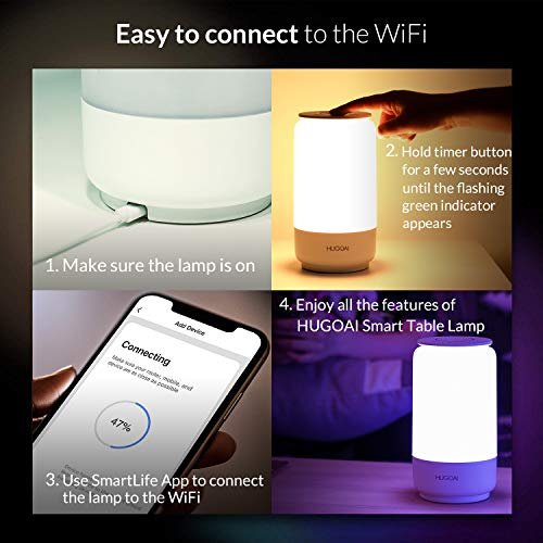 Smart LED Table Lamp, HUGOAI Dimmable Bedside Lamp ...
