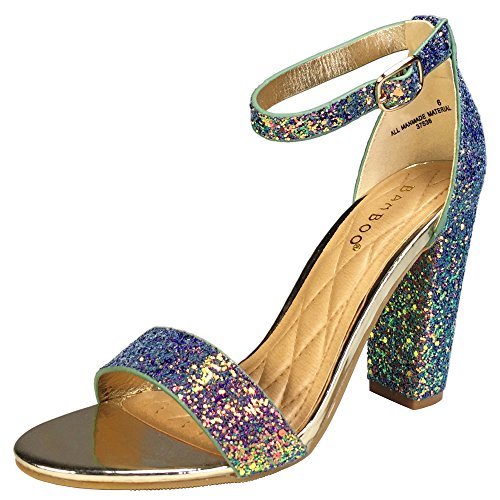 with Blue Ankle Strap Single Sandal Heel Chunky Women's Glitter Band Bamboo S6xwPYzF