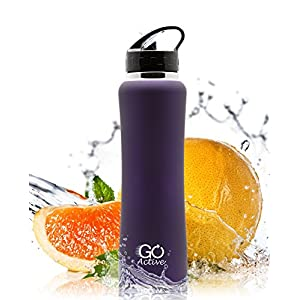 Stainless Steel Insulated Water Bottle with flip straw and sweat-proof rubber grip. H2O Sports drinking bottle is BPA Free, Eco Friendly, Good for Kids, and keeps ice over 24 hours (Dark Purple, 24oz)