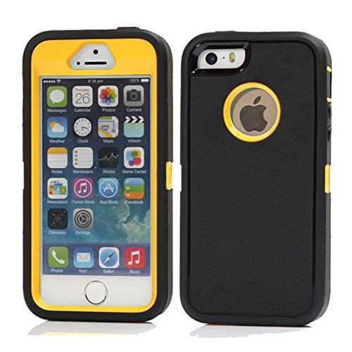 iPhone SE Case, Kecko Military Grade Protection Shockproof High Impact Tough Rubber Rugged Hybrid  Case Cover Skin w/ Screen Protector & Belt Clip for iphone 5s (Black Yellow)
