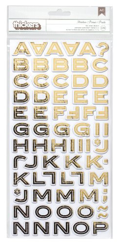 American Crafts 683093 139-Piece Brilliant Foil Finish Stickers, Gold - 139 Finishes