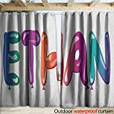 warmfamily Ethan Indoor Outdoor Curtain Colorful Letters in The Shape of Balloons Happy Birthday Celebration Themed Font W120 x L108 Multicolor