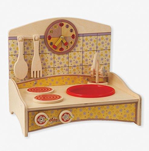 Dida - Mini Cuisine avec décor jaune - cuisine jouet en bois pour les enfants