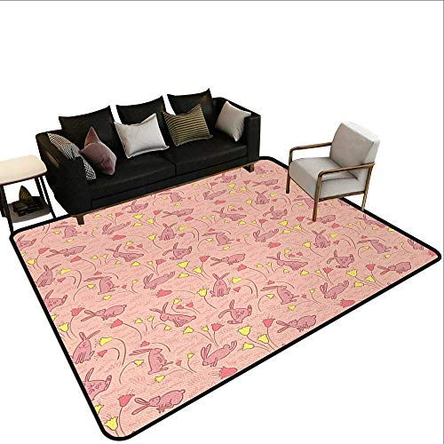 Outdoor Rugs Animal,Bunnies with Flowers Pastel Spring Flora and Fauna Illustration,Pale Pink Dark Coral Yellow,for Living Room Bedrooms Kids Nursery Home Decor 5'x 8'