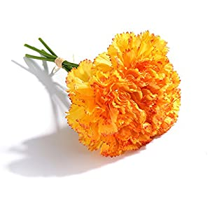 Artificial Silk Carnations Fake Flowers Bouquet for Mother's Day Wedding Bouquets Weddings Cemetery Crafts Decoration, Pack of 15 70
