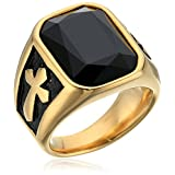 Men's Steeltime 18k Gold Plated Stainless Steel Simulated Black Onyx 0.8
