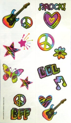 """Amscan Groovy Neon Temporary Tattoo Birthday Party Favors Value Pack (16 Pack), 2"""" x 1 3/4"""", Multicolor from Amscan"""