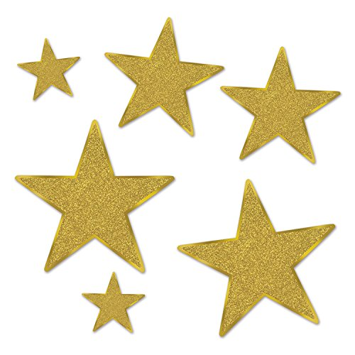 (Beistle 57857-GD Glittered Foil Star Cutouts (6 Pack), Assorted Sizes, Gold)