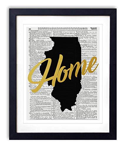 Illinois Home Gold Foil Art Print - Vintage Dictionary Reproduction Art Print