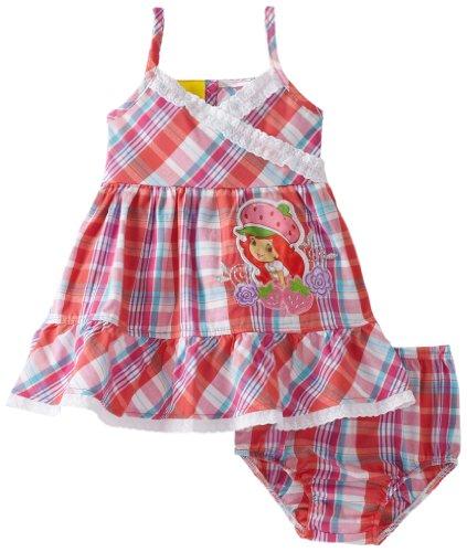 Strawberry Shortcake Baby Girls' Plaid Sundress, Orange, 12 Months